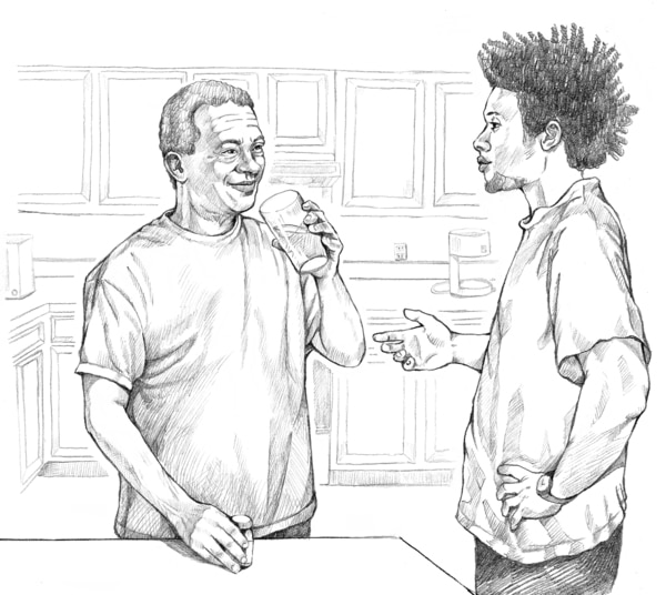 Drawing of two men talking.