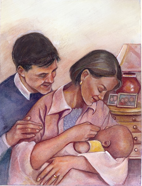 Drawing of a smiling father and mother who are looking at their baby. The father is standing behind the mother with his hand on her shoulder. The mother is holding the baby in her left arm and touching the baby's face with her right hand. The baby is loos