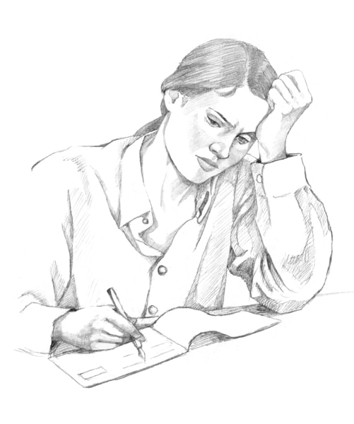 Drawing of a woman writing.