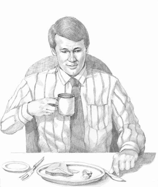 Drawing of a man eating a meal and drinking.