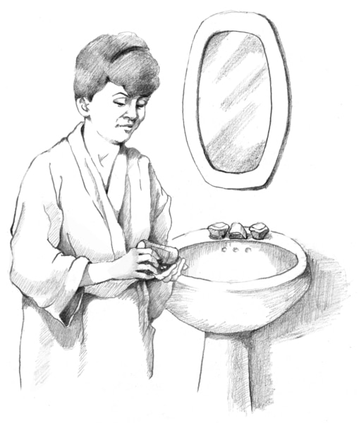 Drawing of a woman taking medicine as prescribed.