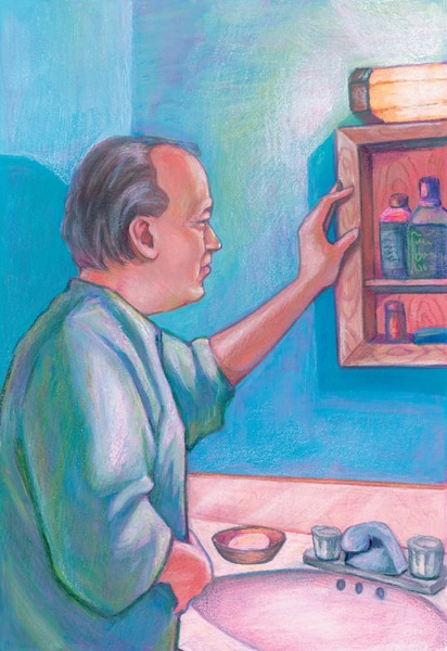 Drawing of a man looking into his open medicine cabinet.