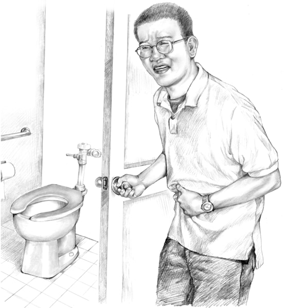 Drawing of a man holding his stomach, appearing in pain, as he approaches a toilet.