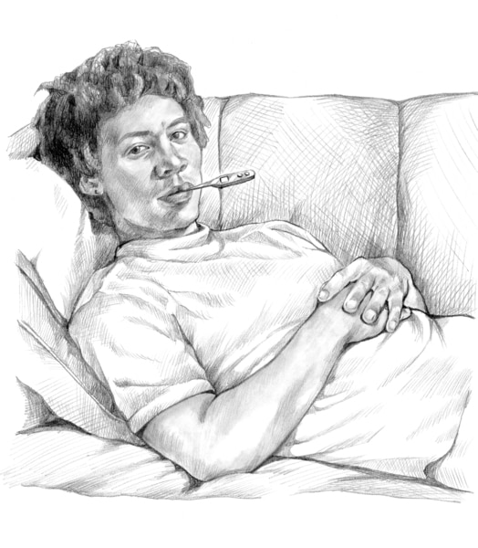 Drawing of a boy lying in bed with a thermometer in his mouth to check for a fever.