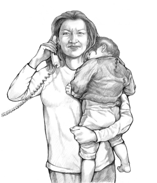 Drawing of a woman holding her child while on the phone with the child's doctor.