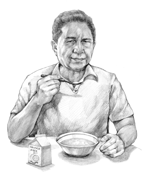 Drawing of a man eating soup and drinking juice.