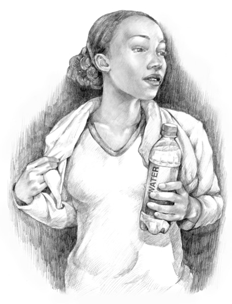 Drawing of a teenage girl with a water bottle in her hands.