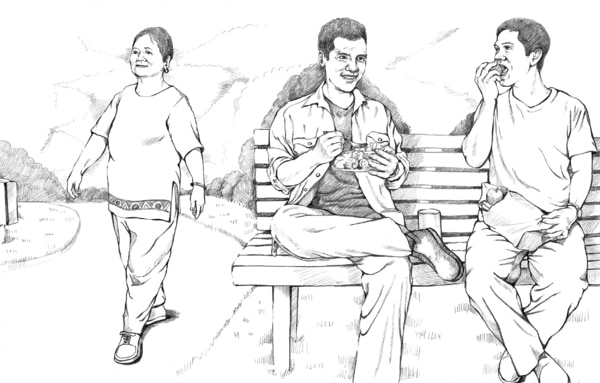 Drawing of a woman walking and two men eating while sitting on a bench.
