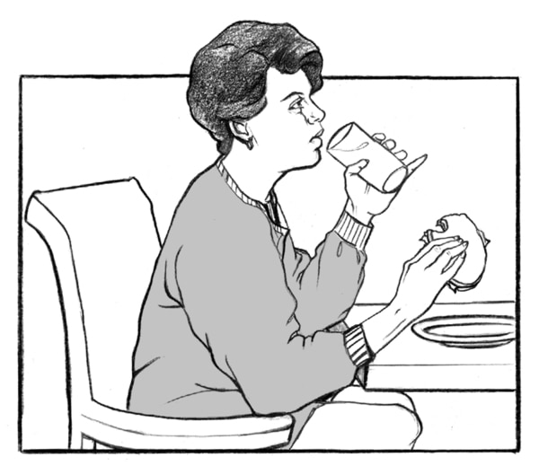 Drawing of a woman eating and drinking.