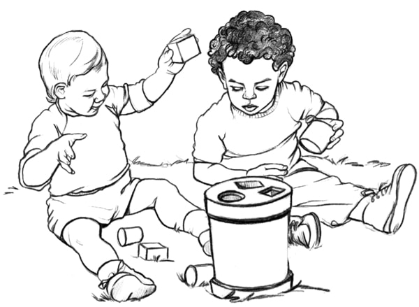 Drawing of two babies sitting in the grass playing with colored blocks.