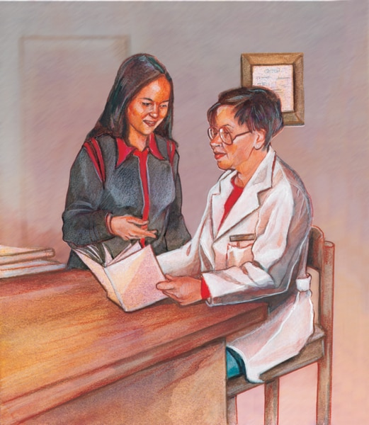 Drawing of two women looking at a book. The woman holding the book is seated and wearing a doctor's coat. The other woman is standing and pointing at the book.