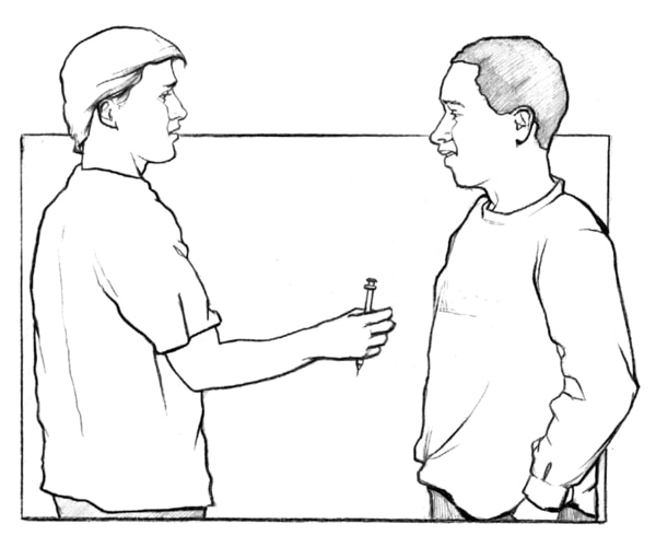 Drawing of a man offering another man a syringe.