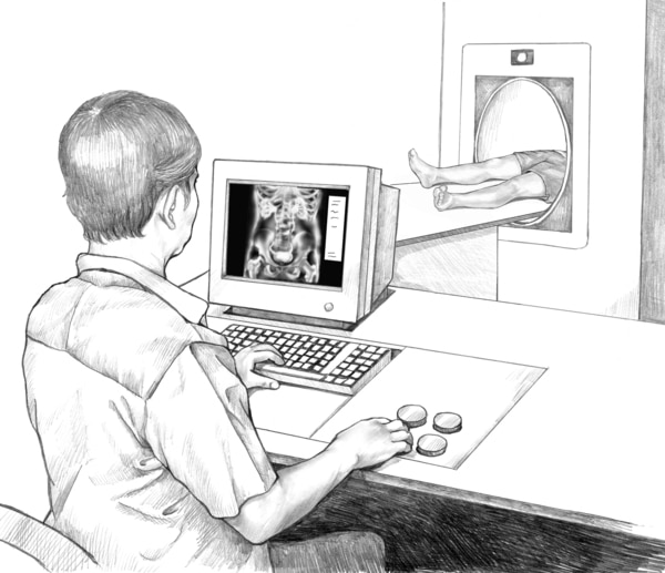 Drawing of a health care worker looking at an image on a computer screen as a patient lies in an imaging tunnel.