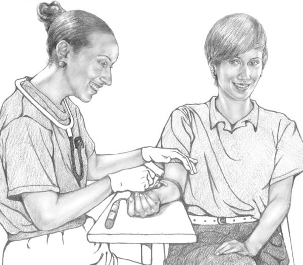 Drawing of a health worker taking a patient's blood sample.