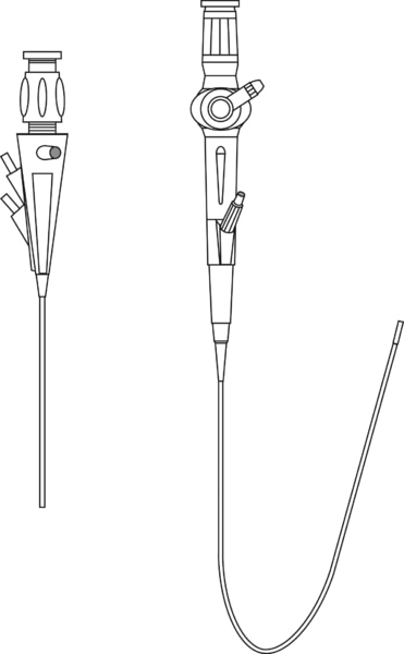 Drawing of two cystoscopes. The rigid cystoscope has a straight stem. The semirigid cystoscope is drawn with a u-shaped bend.