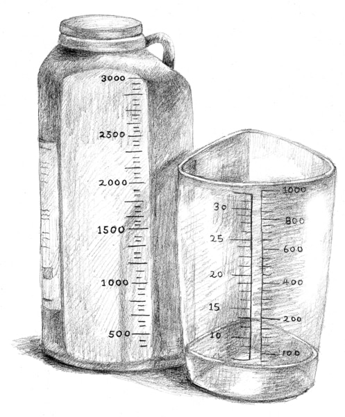 Drawing of two containers for collecting urine.