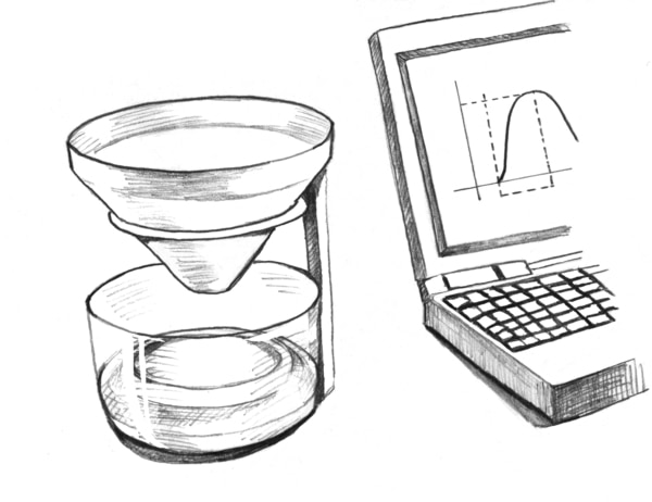 Drawing of uroflow meter equipment, including a device for catching and measuring urine and a computer to record the data.