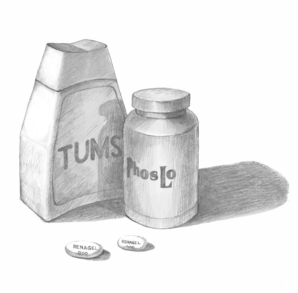 Drawing of pill bottles, labeled Tums and Phoslo, and pills, labeled Renagel.