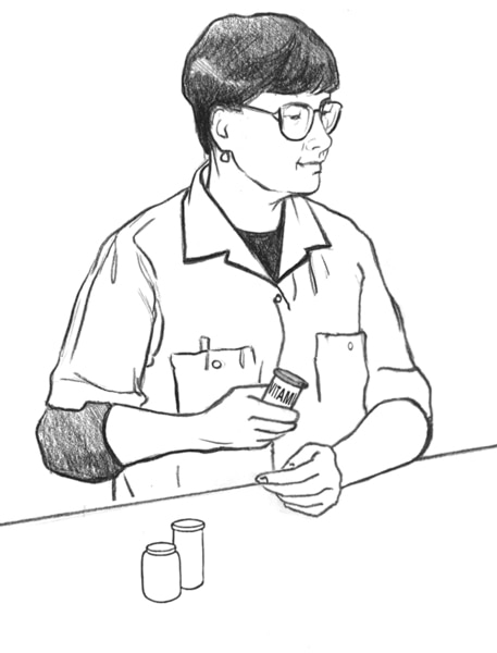 Drawing of a pharmacist.