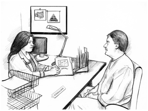 Drawing of female dietitian sitting at a desk explaining gluten-free menu plan to a male client.