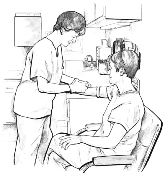 Drawing of female health professional standing and drawing blood from seated female patient's arm.