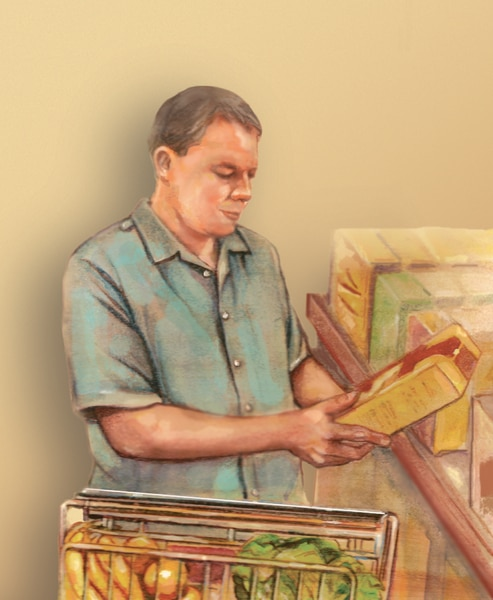 Drawing of man at grocery store with shopping cart, reading food label of box he picked from a shelf.