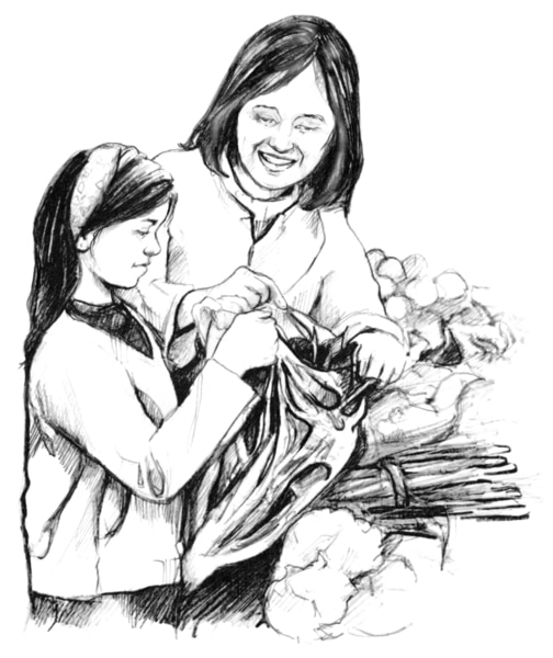 Drawing of mother and daughter selecting fruits and vegetables and placing them in a bag to purchase.