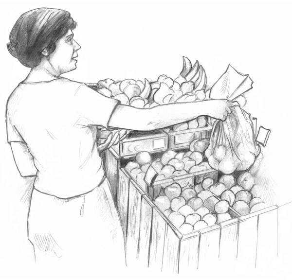 Drawing of a female bagging produce at the supermarket.