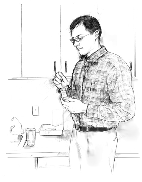 Drawing of a man taking a pill out of a medicine bottle.