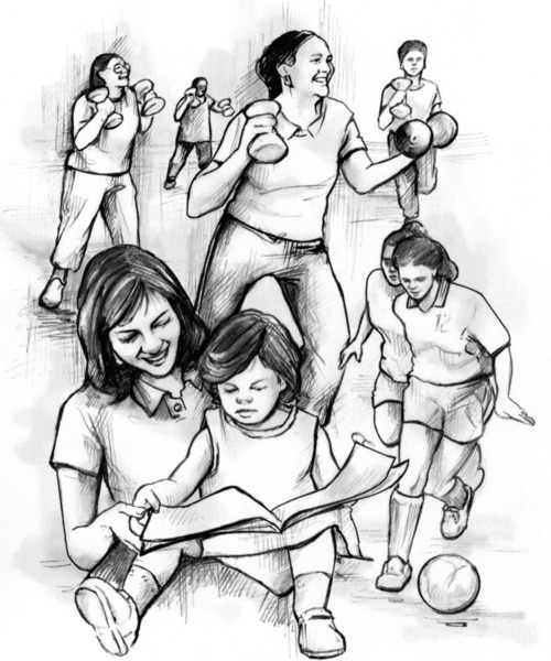 Collage drawing of women exercising with weights, running, and playing soccer. In the foreground, a mother reads to her infant daughter.
