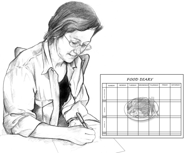 Drawing of a middle-aged woman writing in a food diary. An inset shows the food diary has a calendar imposed over a picture of a plate of food.