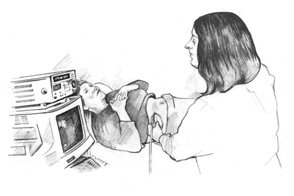 Drawing of a female health worker performing an ultrasound examination of a female patient.
