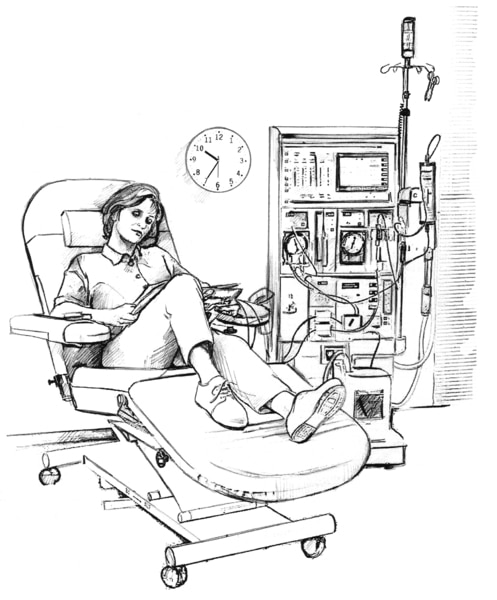 Drawing of a woman receiving hemodialysis treatment in a clinic. A wall clock behind the woman reads 10:35 a.m.