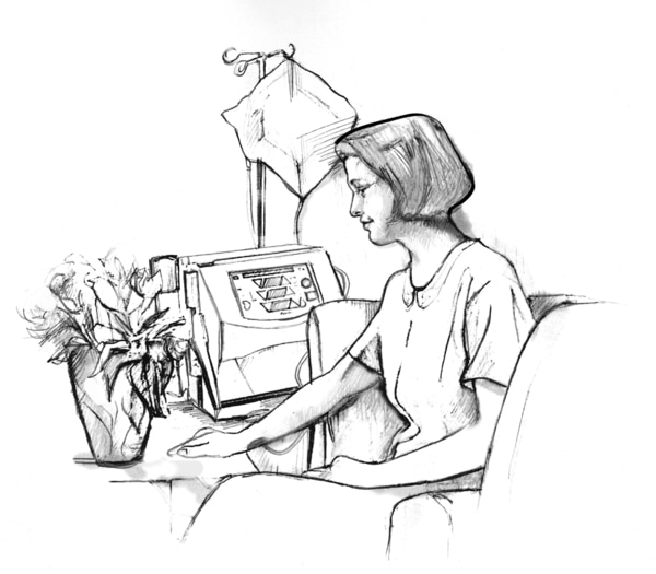 Drawing of a woman sitting in a comfortable chair beside a hemodialysis machine about the size of a small ice chest. A bag hangs from a hook above the machine. She is looking at a pot of flowers on the table in front of her.