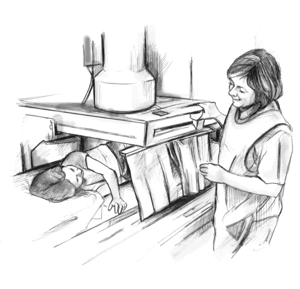 Drawing of a young girl lying on a table beneath x-ray equipment. A short curtain provides privacy for the girl. A female health care worker is talking with the girl.