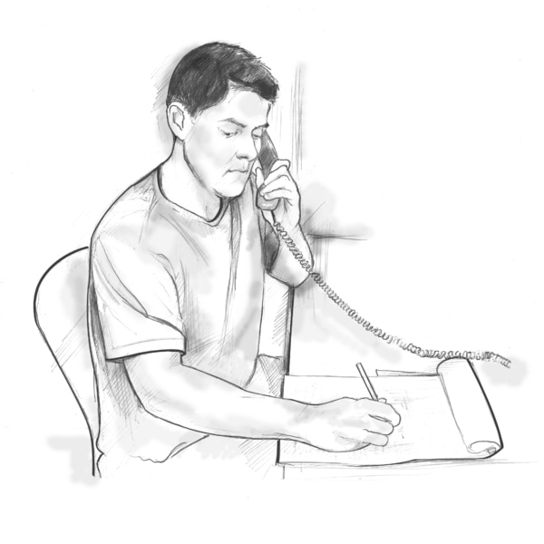Drawing of a man sitting at a desk talking on the phone and taking notes.