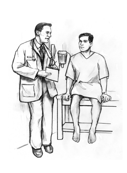 Drawing of a doctor talking with a male patient in an exam room.