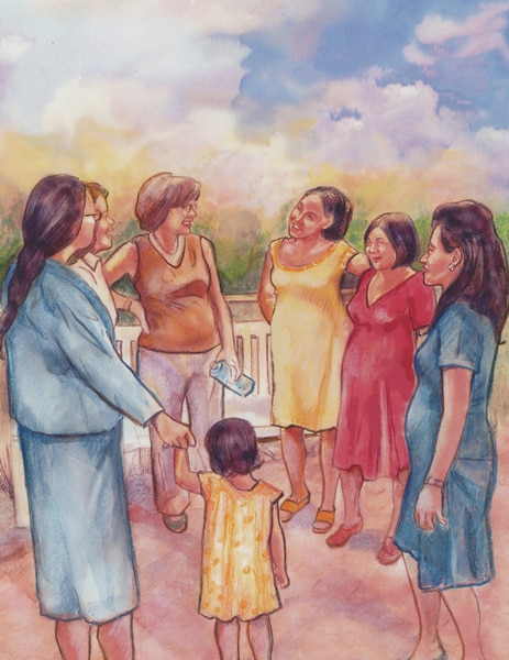 Drawing of a group of pregnant women standing outside and talking.