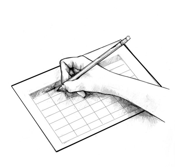 Drawing showing a hand writing in a record book with a pencil.