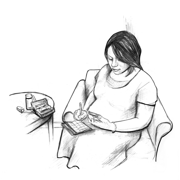 Drawing of a pregnant woman looking at her blood glucose meter and recording her blood glucose level in a record book.