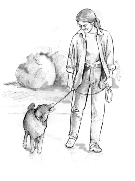 Drawing of a woman dressed in casual clothes walking a dog on a leash.