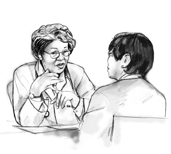 Drawing of a female doctor talking with a female patient. They are sitting across from each other at a table.