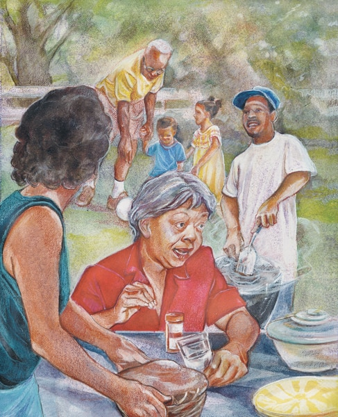 Drawing of a family having a picnic outside. An older woman sits at a table. In front of her are a glass of water and a pill container. A woman is placing a dish on the table. A man is cooking food on a grill. Nearby, an older man is playing with two children.