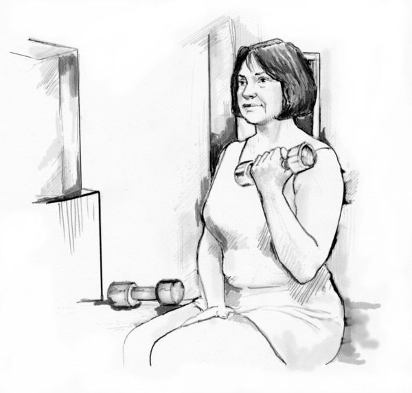 Drawing of a woman lifting a weight for exercise.