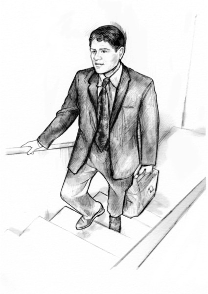 Drawing of a man in a suit carrying a briefcase who is walking up a flight of stairs.