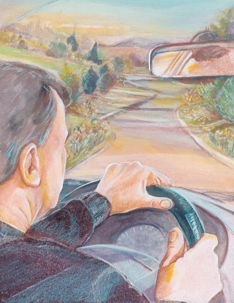 Drawing of a man behind the wheel of a car and driving down a road.