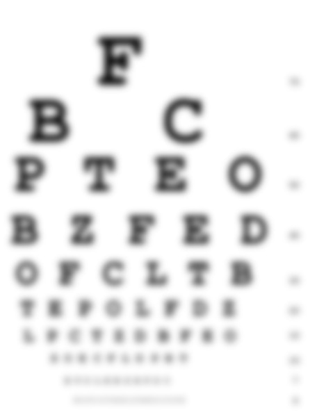 Drawing of an eye chart with rows of letters in decreasing sizes used for an eye exam. The image is blurred.