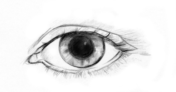 Drawing of an eye with a dilated pupil.