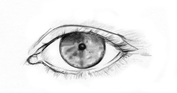 Drawing of an eye with an undilated pupil.