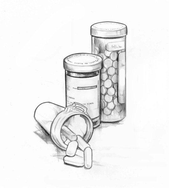 Drawing of three pill bottles with two upright and one on its side.